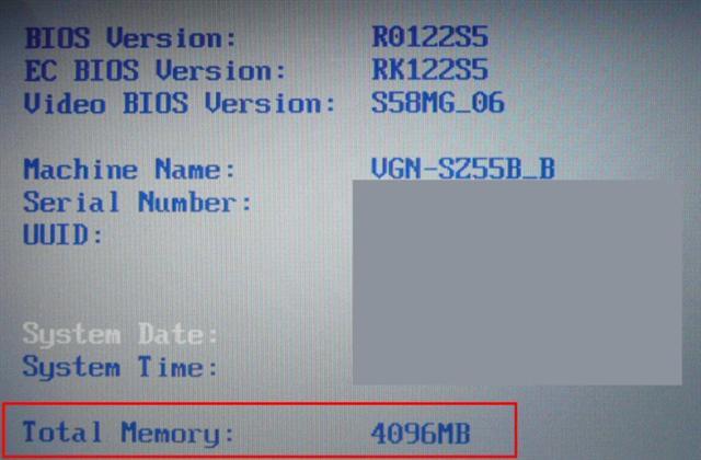 BIOSでは4GBと認識されている