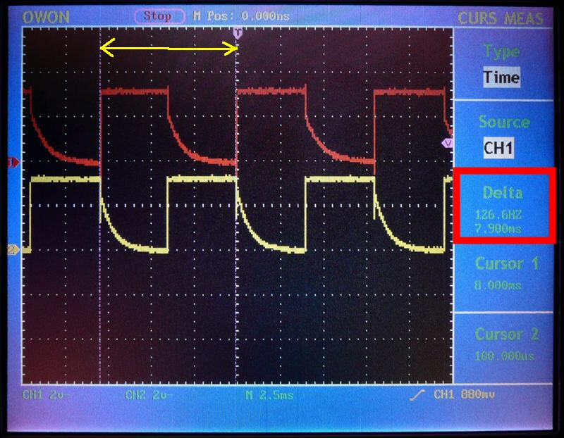 LEDは2分割で交互に点灯 周期は約126Hz毎
