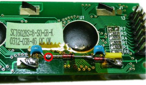 丸の付いた部分が負電圧発生部分