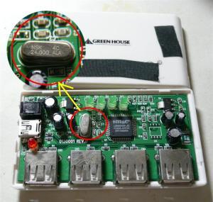 ジャンクのUSBハブに24MHzの水晶発振子がついていた