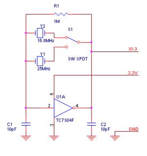 水晶発振子とスイッチが近くに配置