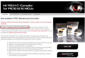HI-TECH C Compiler for PIC10/12/16 MCUs v9.70 リリース