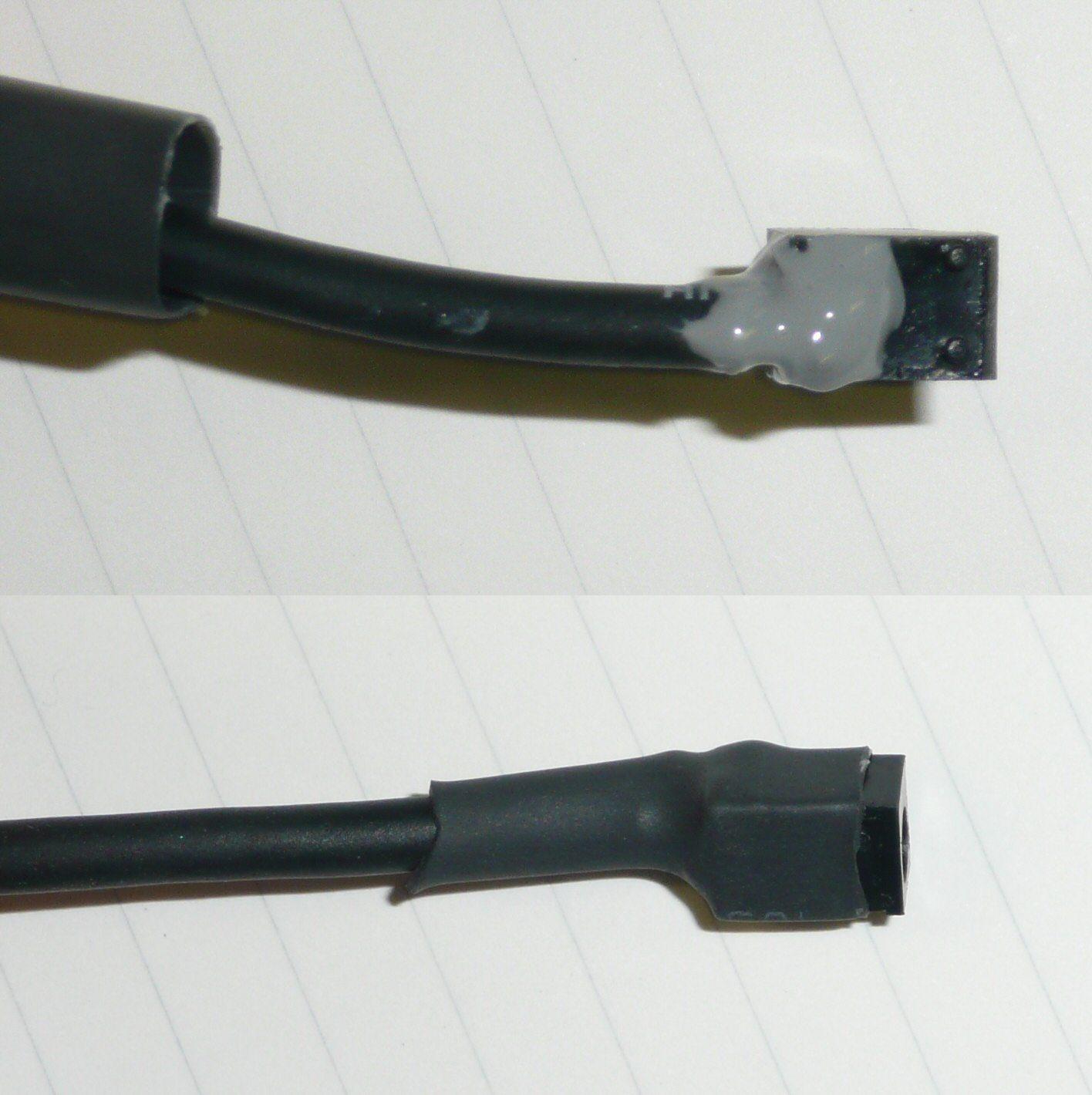 5V電源とコネクターはUSBハブに使っていた物を流用。エポキシで固めて、熱収縮チューブを被せる。