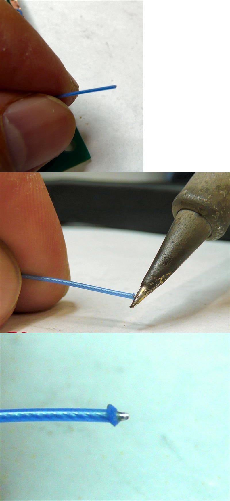 ジュンフロン電線の片方を半田ゴテで熱するとICに配線しやすい程に被服がめくれる
