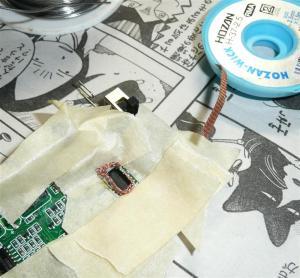 ハンダ吸い取り線をデバイスに巻き付ける