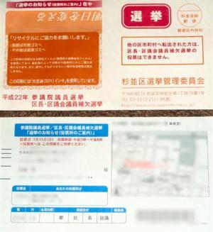 平成22年参議院選挙・区長・区議会員補欠選挙