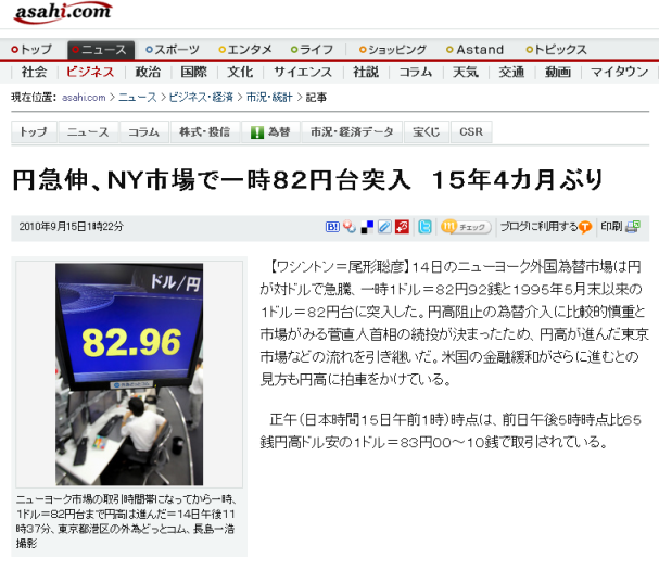 円急伸、NY市場で一時82円台突入 15年4カ月ぶり