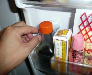 冷蔵庫の隅に