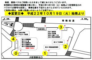 今日から荻窪駅北口の関東バスの乗り場が変更