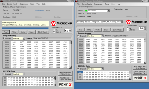 PICkit2とPICkit3を同時起動中