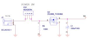 パワーMOS FETを使って逆接続防止回路