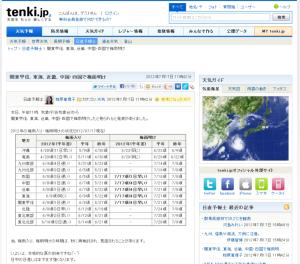 関東甲信、東海、近畿、中国・四国で梅雨明け