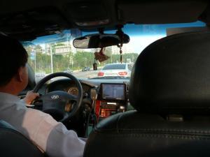 タクシーの中