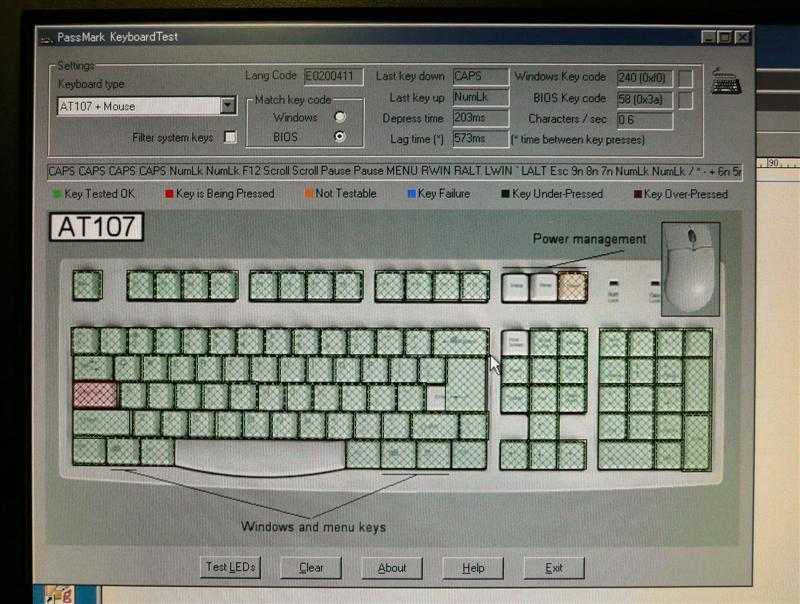 キーボードテストでキーの効き具合をテスト